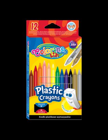 Kredki plastikowe wymazywalne 12 kolorów