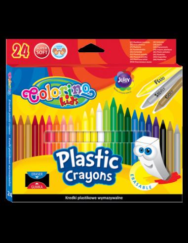 Kredki plastikowe wymazywalne 24 kolorów